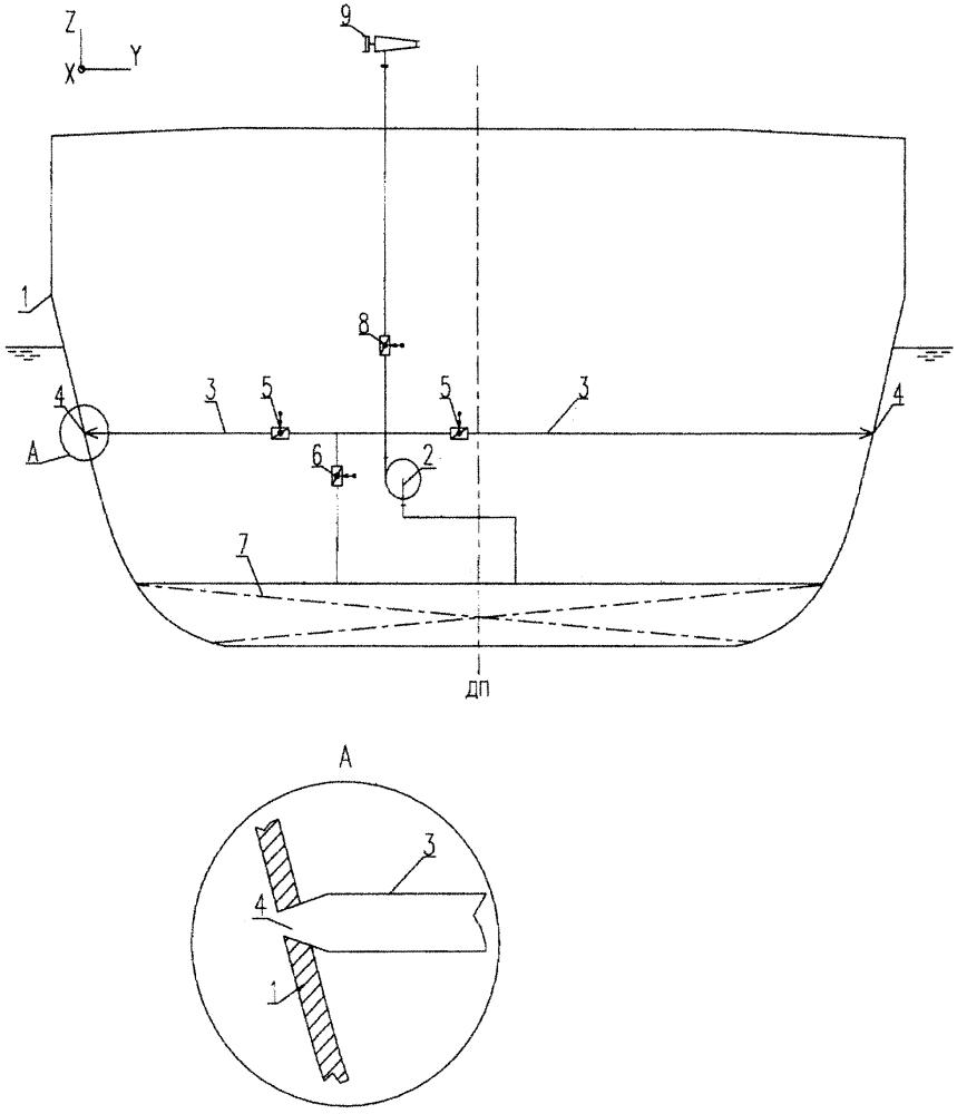 Ледокольное судно с подруливающим устройством, выполненным с использованием штатного насоса тушения пожаров на аварийных судах