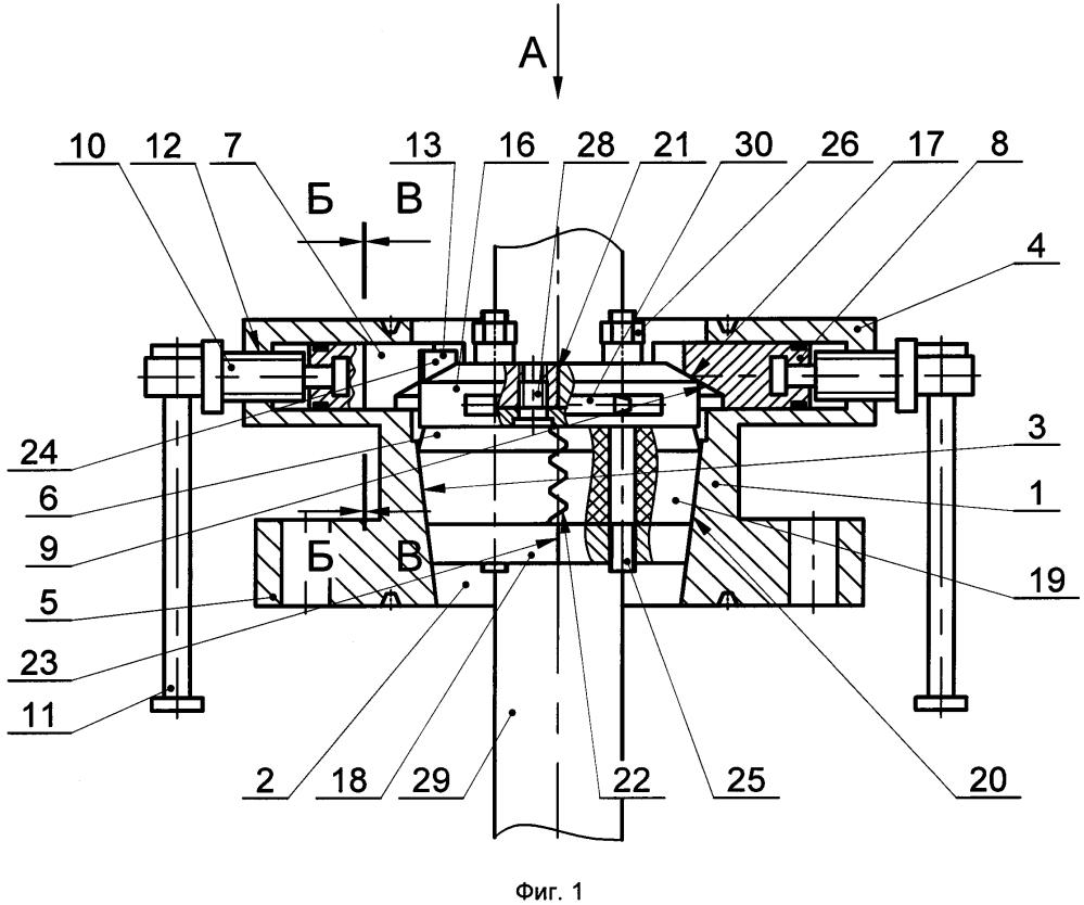 Герметизатор ведущей трубы на устье скважины с восприятием реактивного момента от вращения турбобура