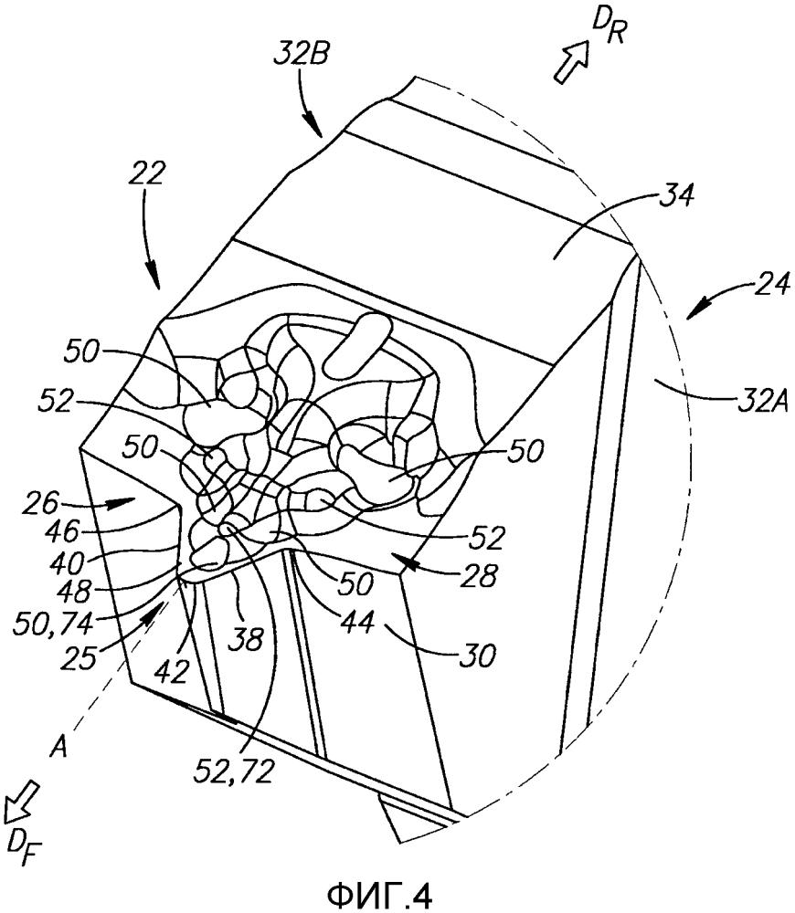 Режущая пластина с устройством отведения стружки