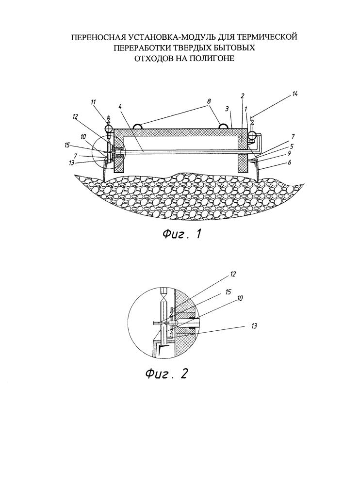 Переносная установка-модуль для термической переработки твердых бытовых отходов на полигоне