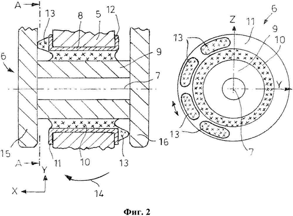 Резинометаллический шарнир для подвески колес автомобиля, трапециевидный рычаг подвески и подвеска колес
