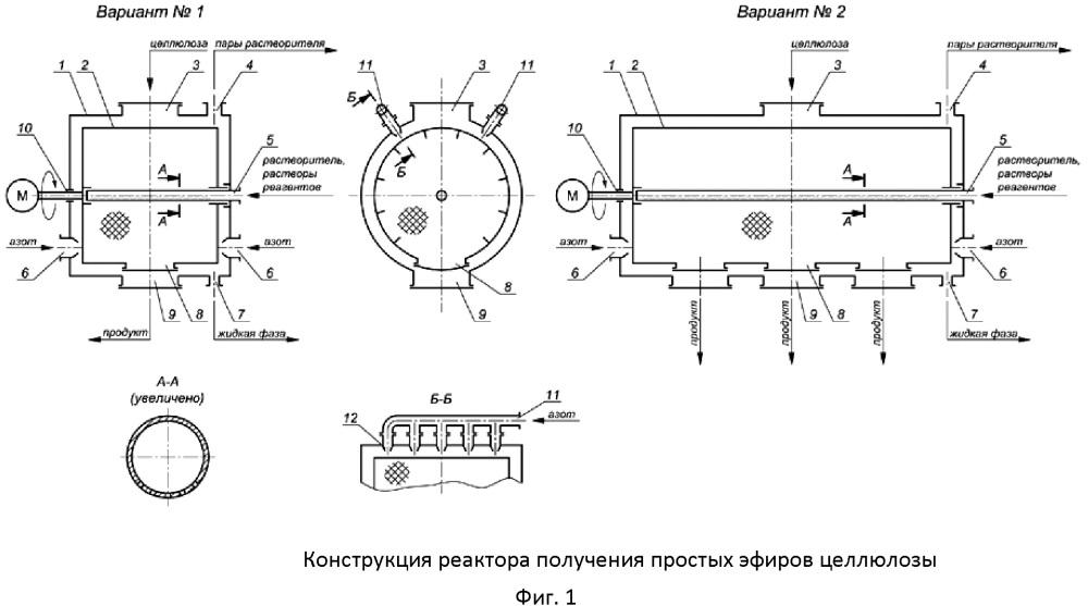 Реакционный аппарат для получения простых эфиров целлюлозы