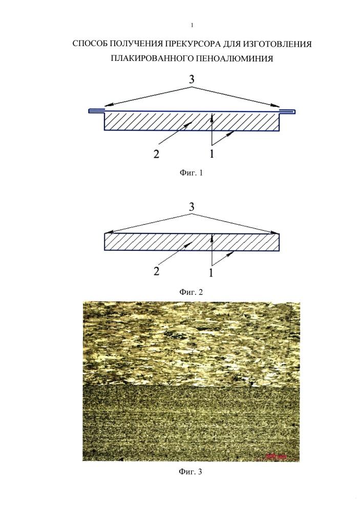 Способ получения прекурсора для изготовления плакированного пеноалюминия