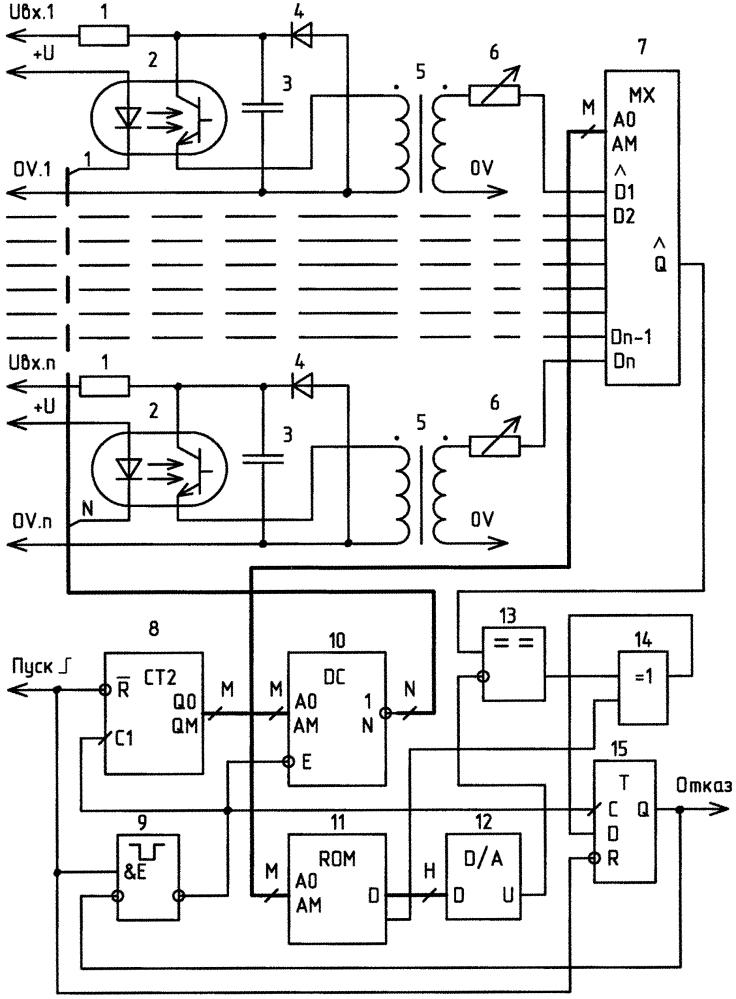 Многоканальный компаратор напряжения с гальванически изолированными каналами