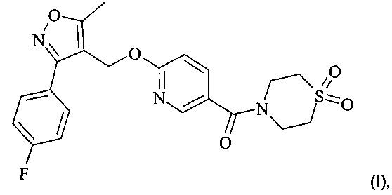 Твердые формы (1,1-диоксо-4-тиоморфолинил)-[6-[[3-(4-фторфенил)-5-метил-4-изоксазолил]метокси]-3-пиридинил]-метанона