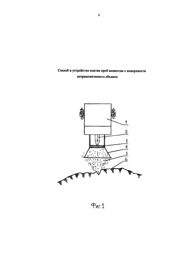 Способ и устройство взятия проб вещества с поверхности астрономического объекта
