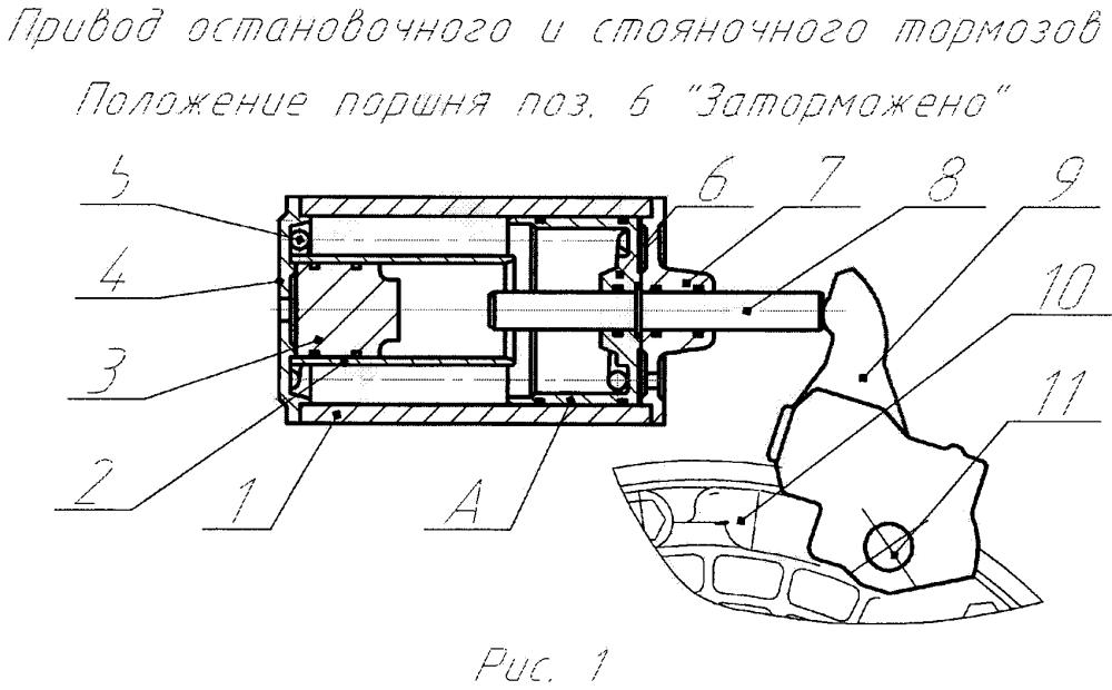 Привод управления остановочным и стояночным тормозами