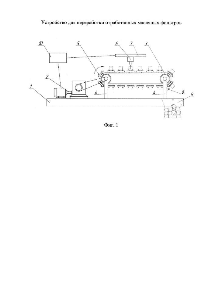Устройство для переработки отработанных масляных фильтров