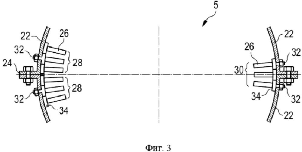 Сектор лопаток статора, статор осевой турбомашины, осевая турбомашина