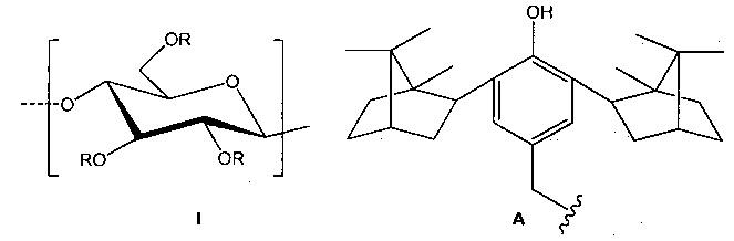 Гидрофильный конъюгат производного крахмала и 2,6-диизоборнил-4-метилфенола и способ его получения