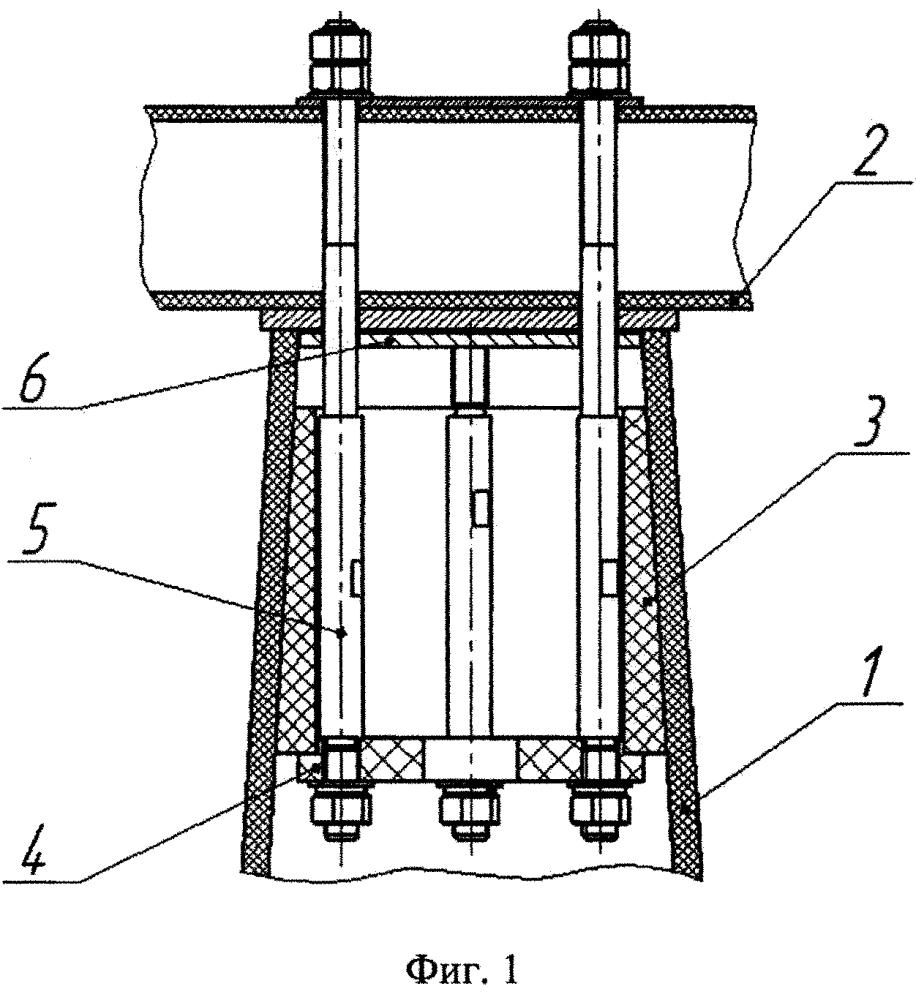 Устройство крепления верхнего оголовника для установки траверсы на торце конусной пустотелой композитной опоры лэп
