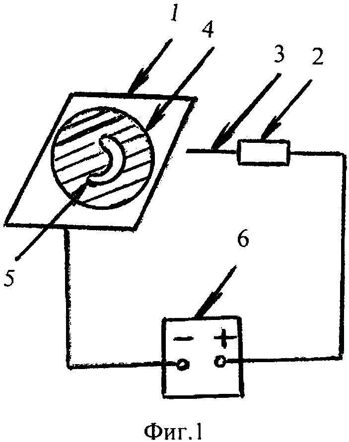 Способ формирования тепловой кумулятивной струи и образованного ей канала заданной формы на металлической поверхности катода
