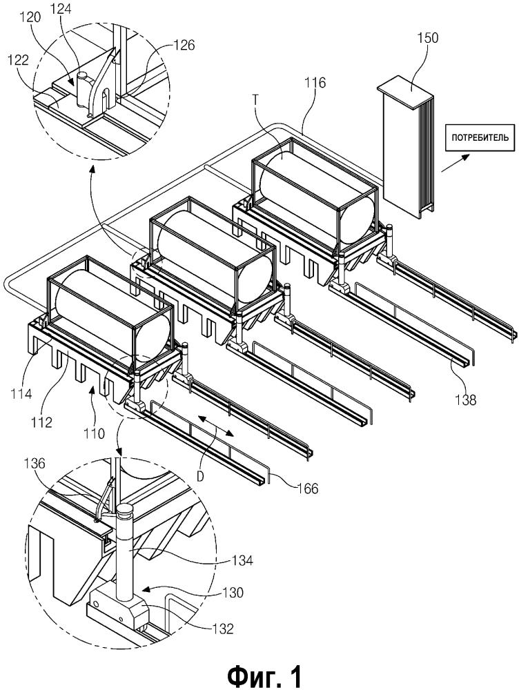 Периферийная станция газоснабжения, использующая контейнеры-цистерны для перевозки сжиженного природного газа, и способ снабжения природным газом с использованием таких контейнеров-цистерн