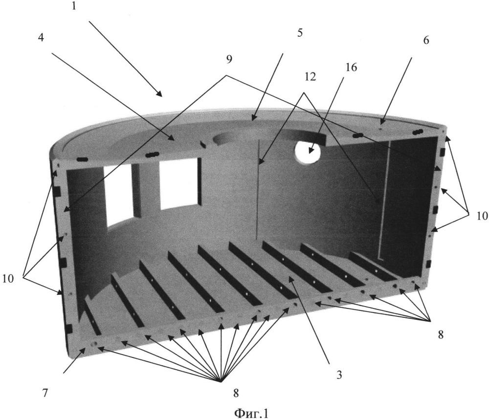 Составной однообъемный бетонный модуль
