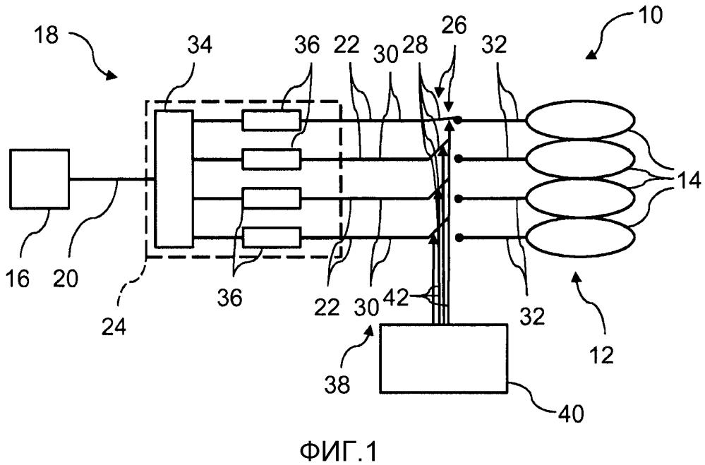 Конструкция схемы питания для подачи радиочастотного сигнала на множество катушечных элементов в магнитно-резонансной системе катушек