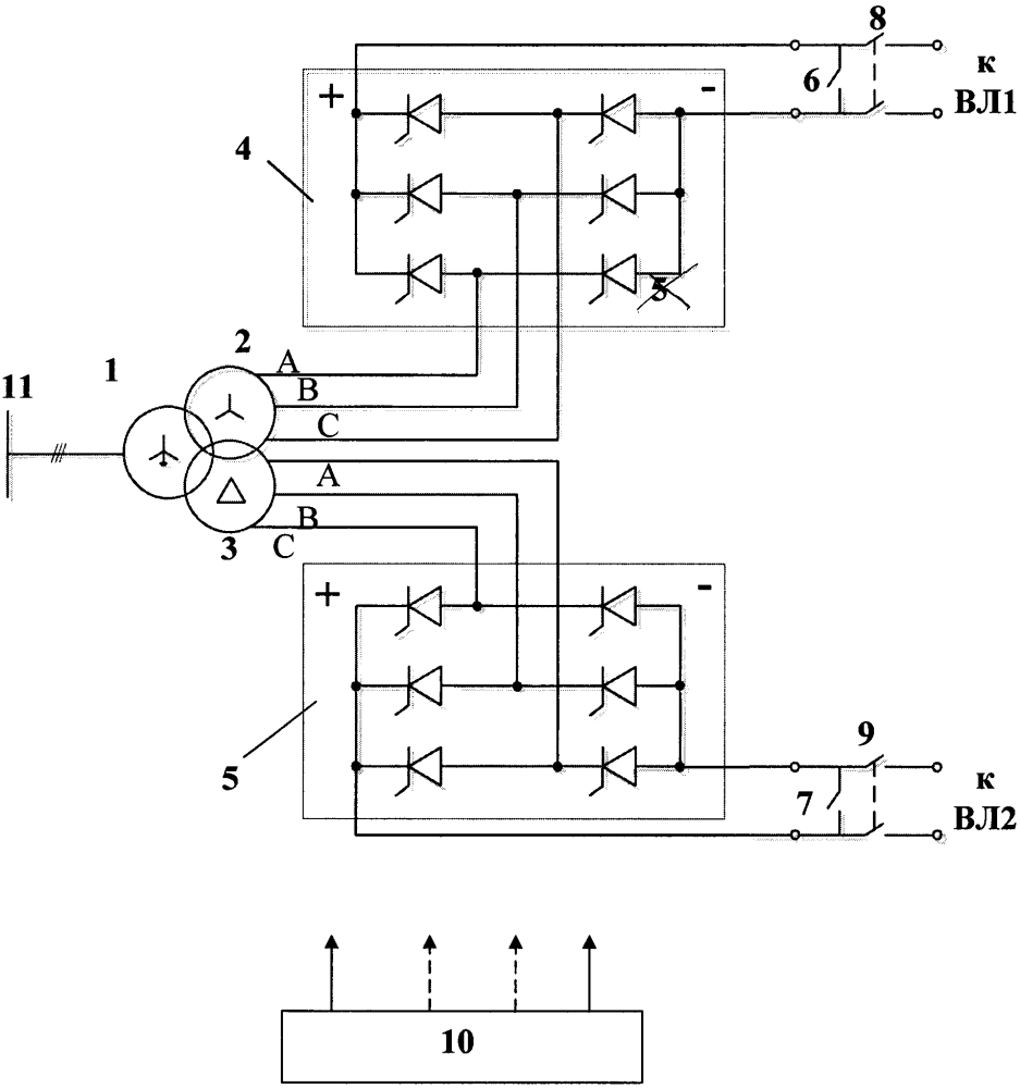 Комбинированное устройство компенсации реактивной мощности и плавки гололеда на основе управляемого шунтирующего реактора-трансформатора