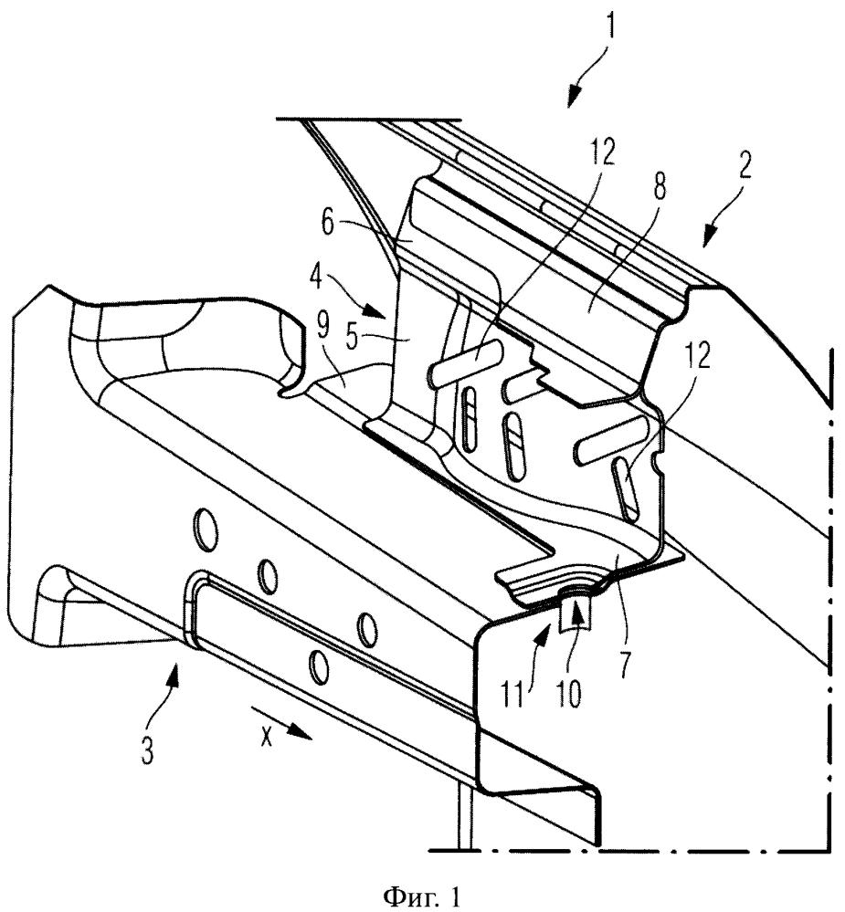 Узел для установки крыла в несущий элемент корпуса кузова в автотранспортном средстве