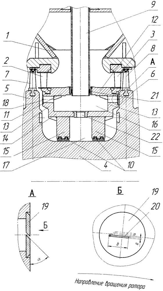 Двухпоточный цилиндр паротурбинной установки с охлаждением ротора