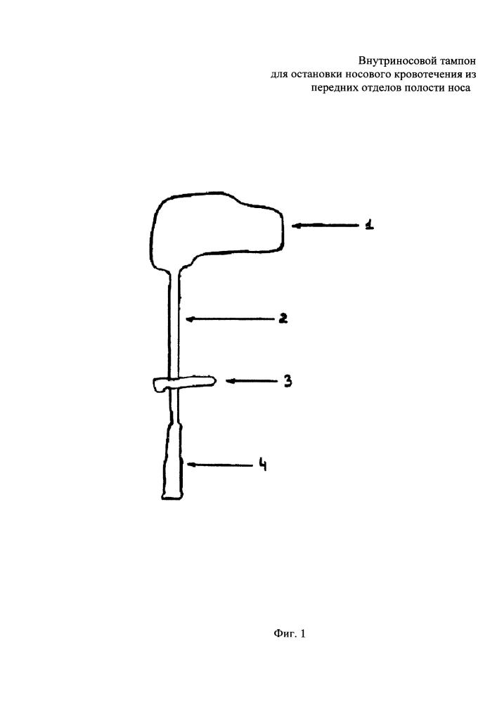 Внутриносовой тампон для остановки носового кровотечения из передних отделов полости носа