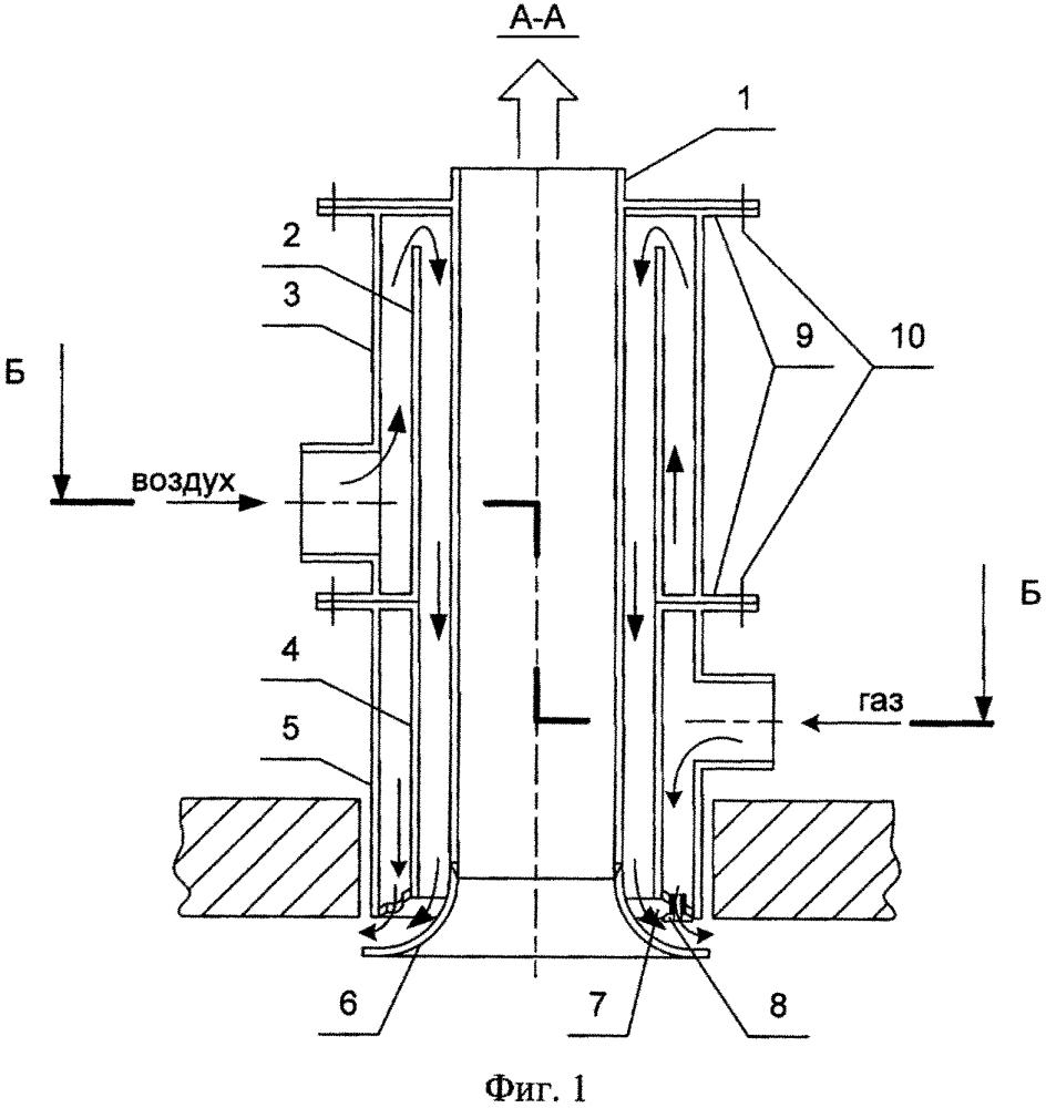 Газовая плоскопламенная горелка со встроенным радиационным рекуператором