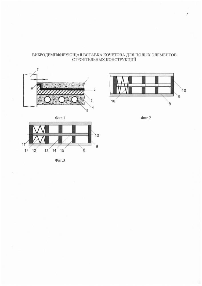 Вибродемпфирующая вставка кочетова для полых элементов строительных конструкций