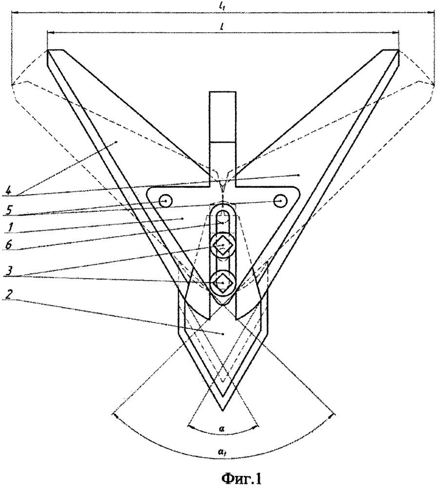 Стрельчатая лапа культиватора с регулируемым углом атаки