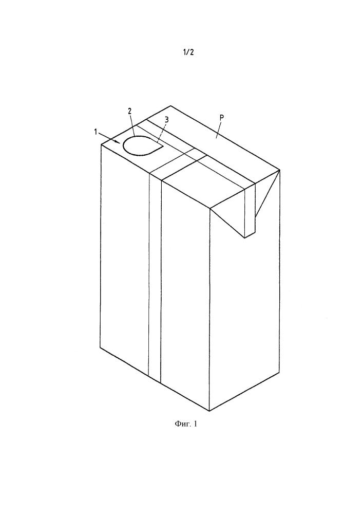 Упаковка из композитного материала с разливочным элементом и заготовка для изготовления такой упаковки
