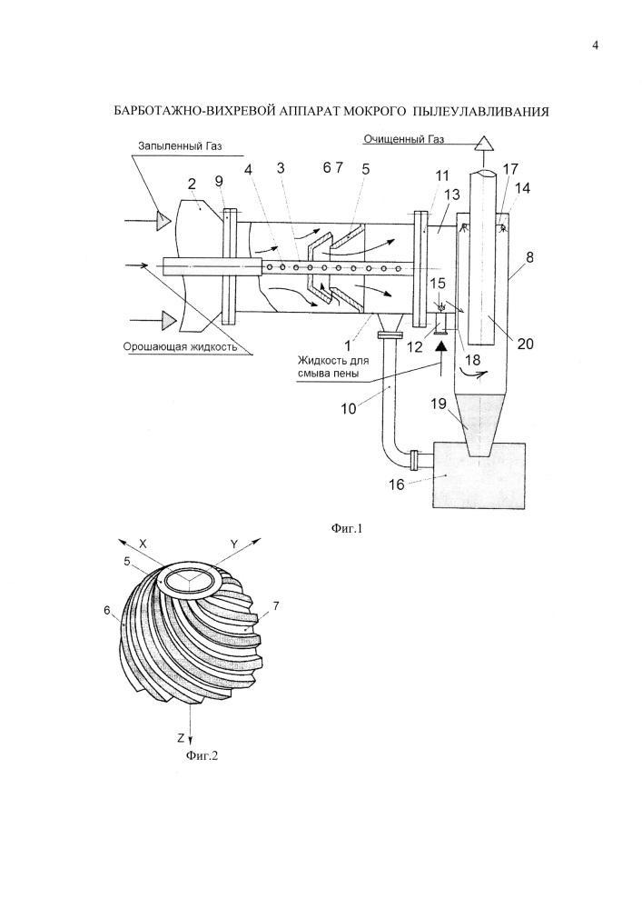 Барботажно-вихревой аппарат мокрого пылеулавливания