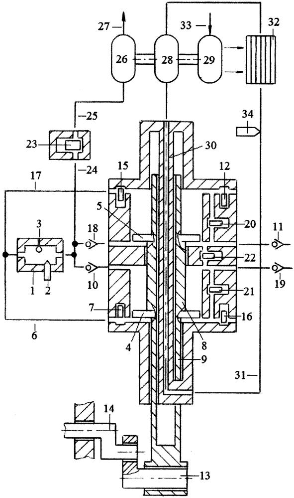 Способ бесконтактного охлаждения поршней и штоков однотактного двигателя с внешней камерой сгорания энергией сжимаемого в компрессорных полостях поршней воздуха