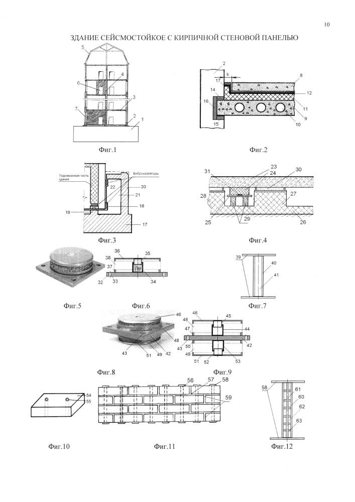 Здание сейсмостойкое с кирпичной стеновой панелью