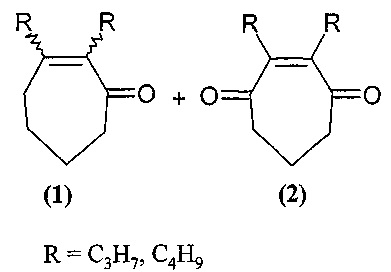 Способ совместного получения 2,3-диалкил-2-циклогептен-1-онов и 2,3-диалкил-2-циклогептен-1,4-дионов