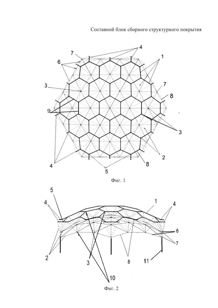 Составной блок сборного структурного покрытия