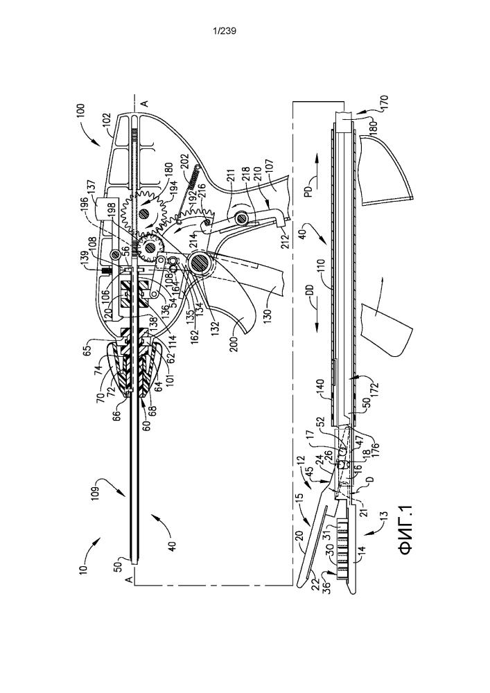 Хирургический сшиватель с неподвижными подающими элементами для подачи скобок
