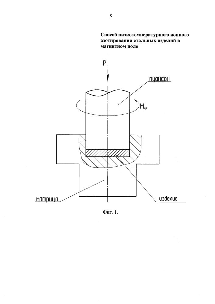 Способ низкотемпературного ионного азотирования стальных изделий в магнитном поле