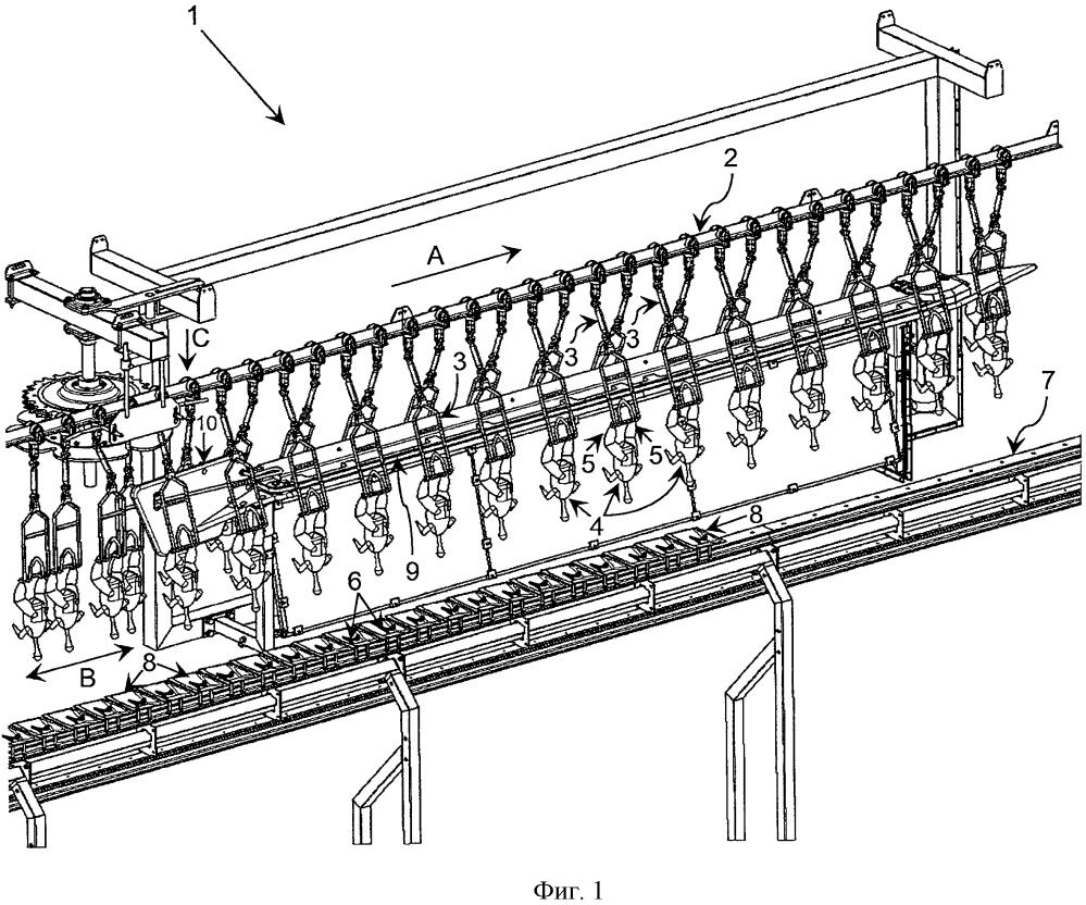 Линия для обработки и/или инспекции домашней птицы, подвешенной за ноги
