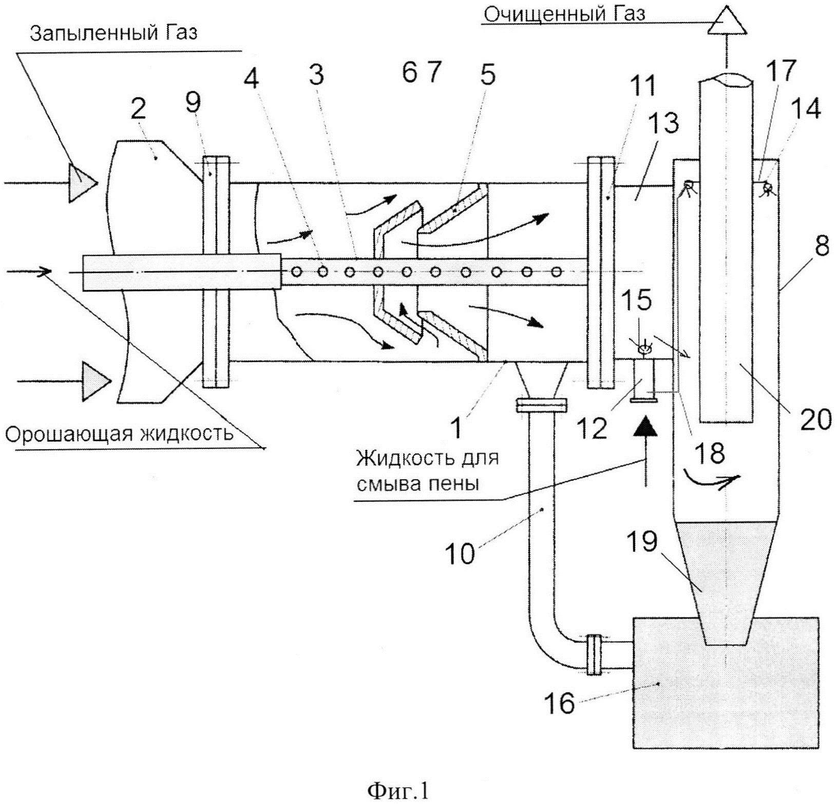 Барботажно-вихревой аппарат с параболическим завихрителем для мокрой очистки газа