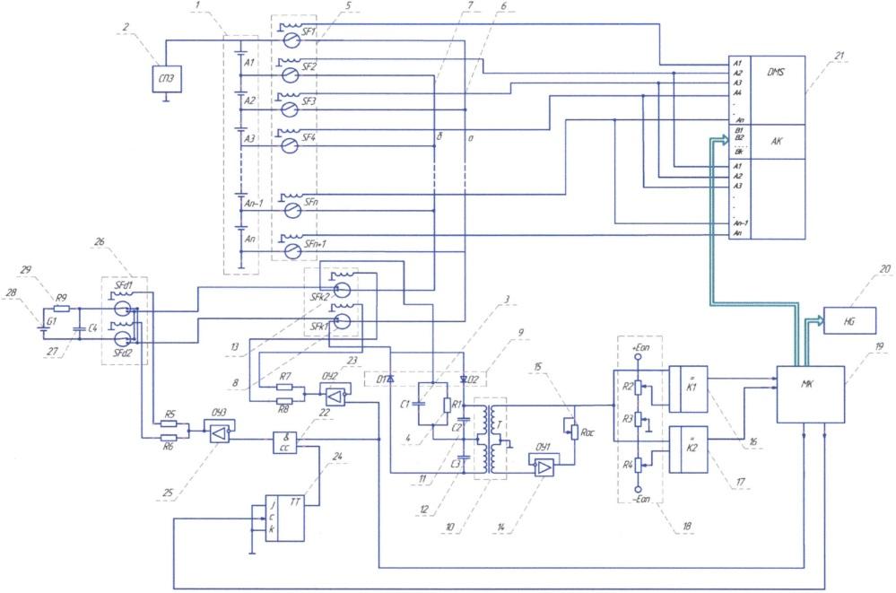 Устройство автоматического контроля и выравнивания степени заряженности блока аккумуляторов комбинированной энергетической установки