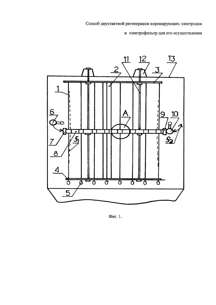 Способ двухтактной регенерации коронирующих электродов и электрофильтр для его осуществления