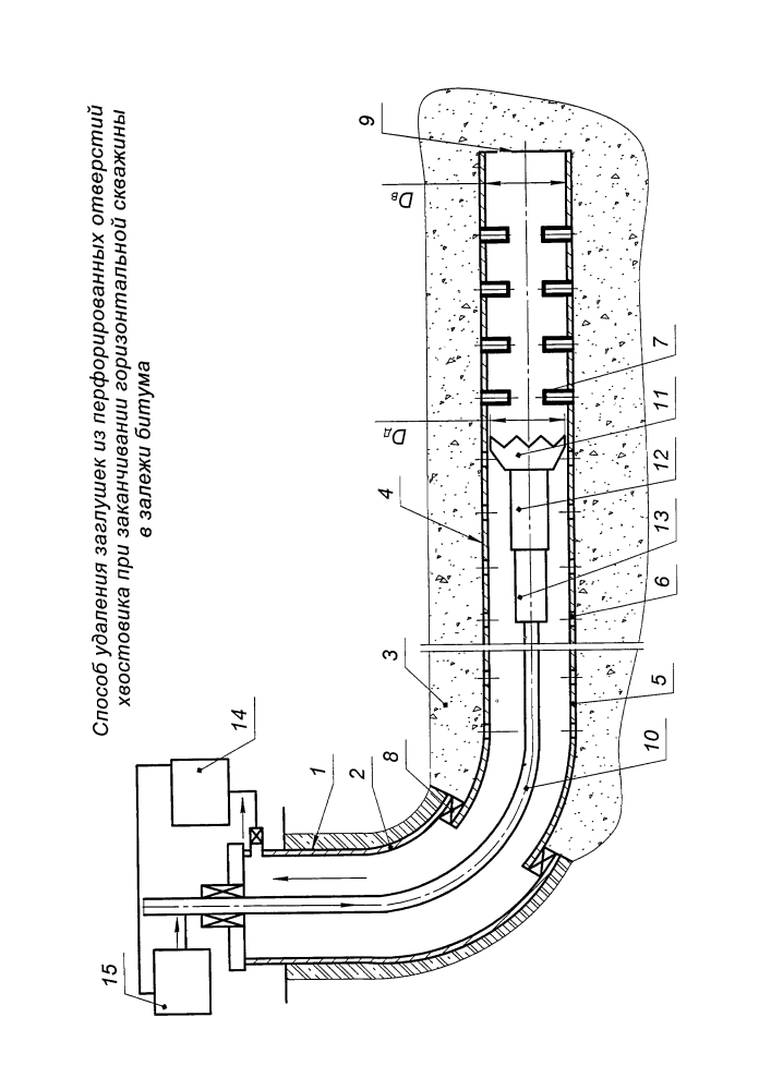 Способ удаления заглушек из перфорированных отверстий хвостовика при заканчивании горизонтальной скважины в залежи битума
