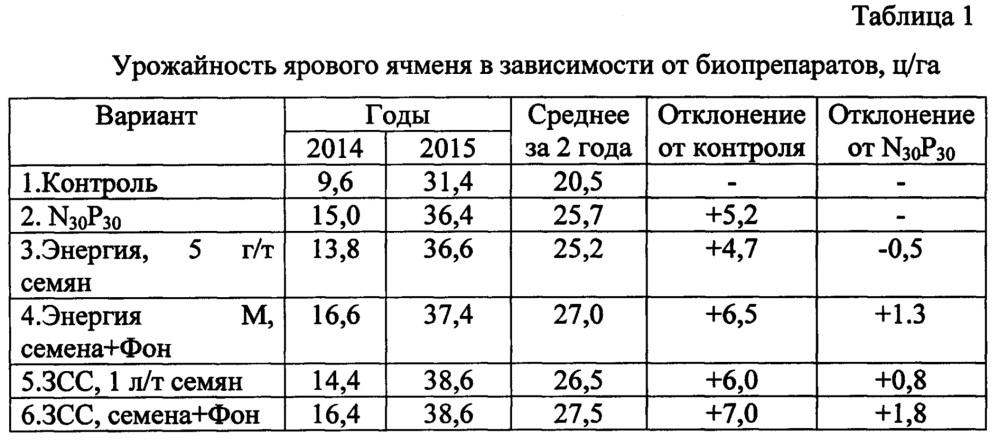 Способ выращивания семян ярового ячменя с использованием средств биотехнологии и минеральных удобрений в аридных условиях юга россии