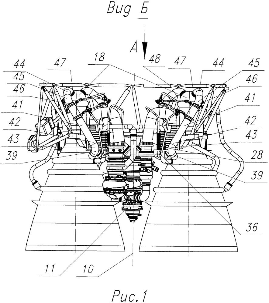 Двухкамерный жидкостный ракетный двигатель с управляемым вектором тяги