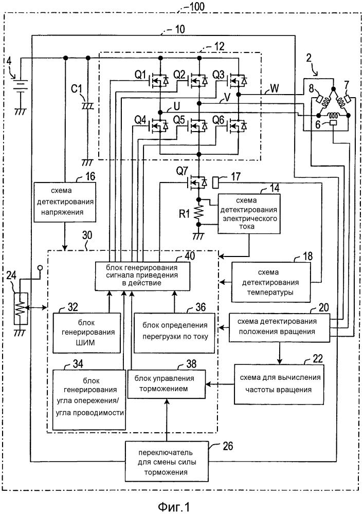 Устройство торможения для трехфазного бесщеточного электродвигателя и приводимый в действие электродвигателем инструмент, обеспеченный им