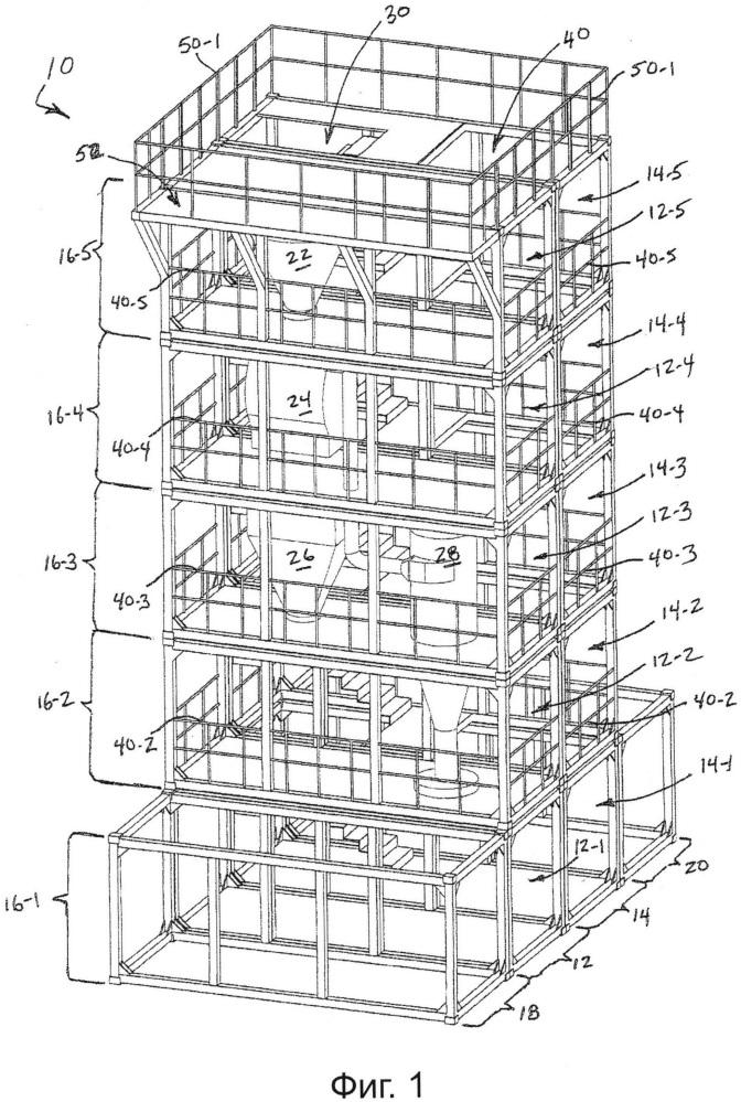 Модульный многоэтажный производственный цех и способы его построения