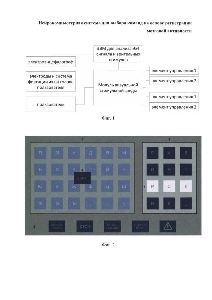 Нейрокомпьютерная система для выбора команд на основе регистрации мозговой активности