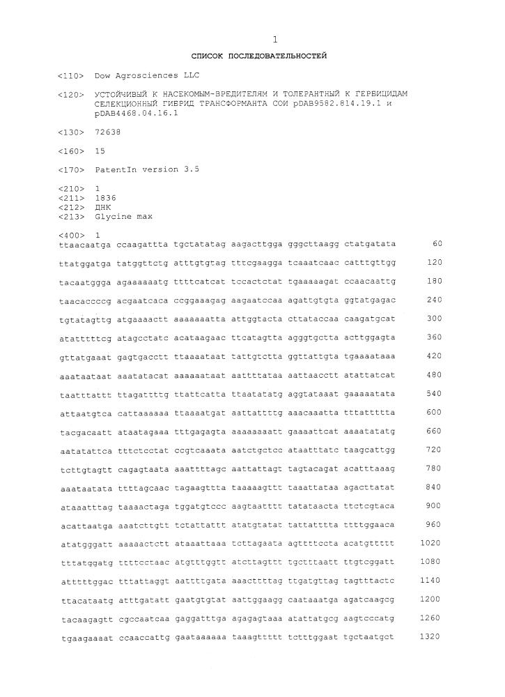 Устойчивый к насекомым-вредителям и толерантный к гербицидам селекционный гибрид трансформанта сои pdab9582.814.19.1 и pdab4468.04.16.1
