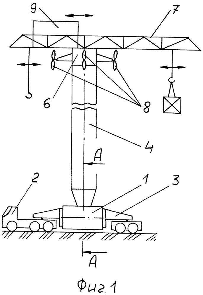 Грузоподъёмный кран с аэродинамической балансировкой