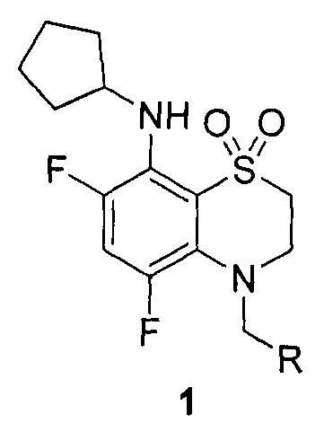 4-арил(гетарил)метил-замещенные 8-циклопентиламино-5,7-дифтор-3,4-дигидро-2н-бензо[1,4]тиазин-1,1-диоксиды, обладающие гипертензивным действием