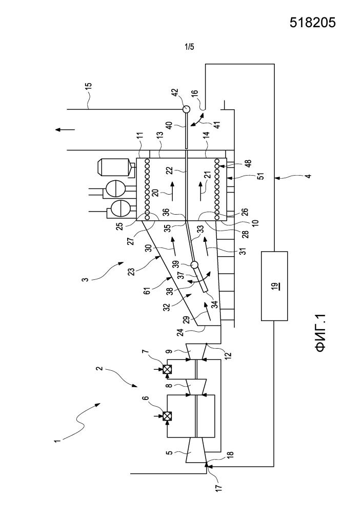 Газотурбинная электростанция, имеющая рециркуляцию выхлопного газа