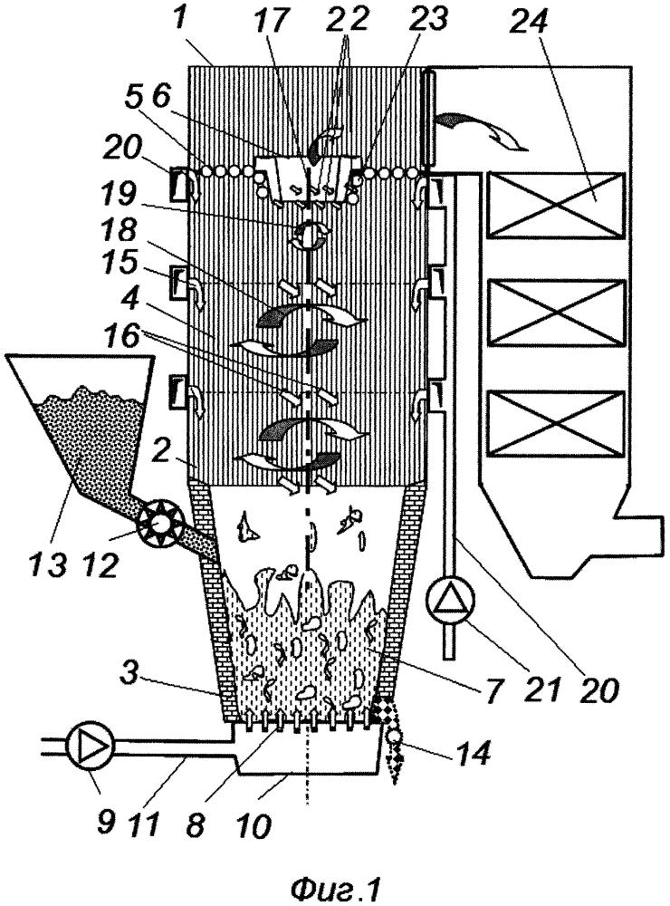 Слоевой котел с вертикальной вихревой топкой