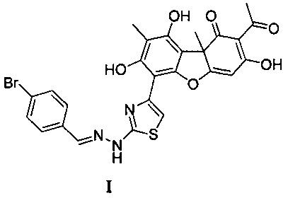 2-ацетил-6-(2-(2-(4-бромбензилиден)гидразинил) тиазол-4-ил)-3, 7, 9-тригидрокси-8, 9b-диметилдибензо[b, d]фуран-1(9bh)-он, проявляющий ингибирующее действие в отношении фермента тирозил-днк-фосфодиэстеразы 1 человека